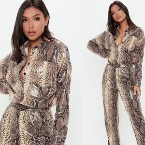 Missguided faux Snake skin shirt